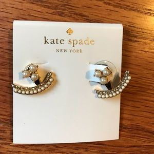 Kate Spade Two Piece Earrings - gold tone/pearl